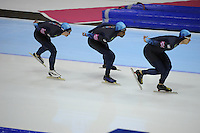 SCHAATSEN: HEERENVEEN: Thialf, World Cup, 04-12-11, Team Pursuit USA, Jonathan Kuck, Shani Davis, Patrick Meek, ©foto: Martin de Jong