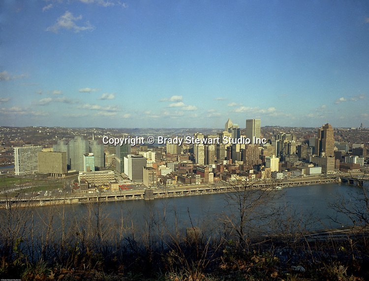 Pittsburgh PA:  View of the skyline and City of Pittsburgh - 1965. The new Gateway Towers is open for business.