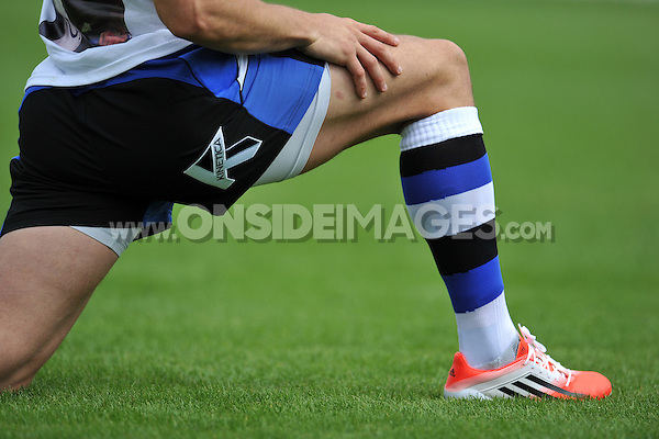 A general view of Kinetica branding on a Bath player's shorts. Pre-season friendly match, between Bath Rugby and the Scarlets on August 16, 2014 at the Recreation Ground in Bath, England. Photo by: Patrick Khachfe / Onside Images