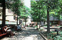 Baltimore:  Charles Center--parklike setting with trees, benches, wide walking paths.  Photo '85.