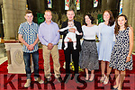 Baby Callan O'Leary Kimego, Cahersiveen & New York was christened on Sunday in the O'Connell Memorial Church, Cahersiveen by Canon Larry Kelly, pictured l-r; Dylan Murphy, John O'Leary, Callan O'Leary, parents Dan & Jacqueline O'Leary, Emily Lane & Alexandra Valdouma.