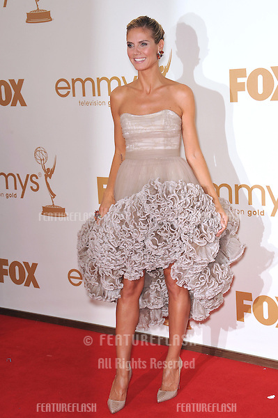 Heidi Klum arriving at the 2011 Primetime Emmy Awards at the Nokia Theatre, L.A. Live in downtown Los Angeles..September 18, 2011  Los Angeles, CA.Picture: Paul Smith / Featureflash