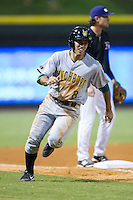 Pinch runner Eric Garcia (8) rounds third base on his way to scoring the eventual winning run against the Winston-Salem Dash at BB&T Ballpark on August 13, 2014 in Winston-Salem, North Carolina.  The Hillcats defeated the Dash 4-3.   (Brian Westerholt/Four Seam Images)