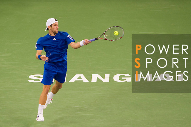 SHANGHAI, CHINA - OCTOBER 14:  Jurgen Melzer of Austria returns a ball to Rafael Nadal of Spain during day four of the 2010 Shanghai Rolex Masters at the Shanghai Qi Zhong Tennis Center on October 14, 2010 in Shanghai, China.  (Photo by Victor Fraile/The Power of Sport Images) *** Local Caption *** Jurgen Melzer