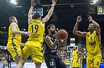 10.05.2019, EWE Arena, Oldenburg, GER, easy Credit-BBL, EWE Baskets Oldenburg vs Mitteldeutscher BC, im Bild<br /> viel Gelb..<br /> Trevor RELEFORD (Mitteldeutscher BC #12 ) Nathan BOOTHE (EWE Baskets Oldenburg #45 ) Viojdan STOJANOVSKI (EWE Baskets Oldenburg #19 ) Justin SEARS (EWE Baskets Oldenburg #0 )<br /> Foto &copy; nordphoto / Rojahn