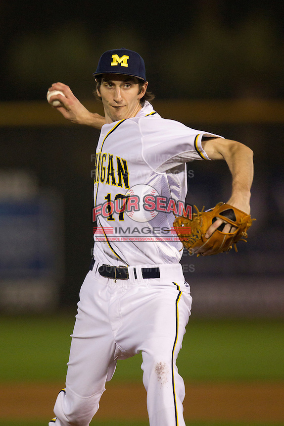 Michigan Wolverines pitcher Brandon Sinnery #17 delivers a pitch during a game against the Pittsburgh Panthers at the Big Ten/Big East Challenge at Florida Auto Exchange Stadium on February 17, 2012 in Dunedin, Florida.  (Mike Janes/Four Seam Images)