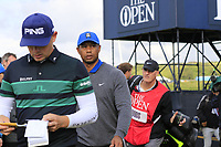 Matt Wallace (ENG) and Tiger Woods (USA) walk to the 13th tee during Thursday's Round 1 of the 148th Open Championship, Royal Portrush Golf Club, Portrush, County Antrim, Northern Ireland. 18/07/2019.<br /> Picture Eoin Clarke / Golffile.ie<br /> <br /> All photo usage must carry mandatory copyright credit (© Golffile | Eoin Clarke)