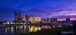 Dayton Ohio skyline photo with purple.