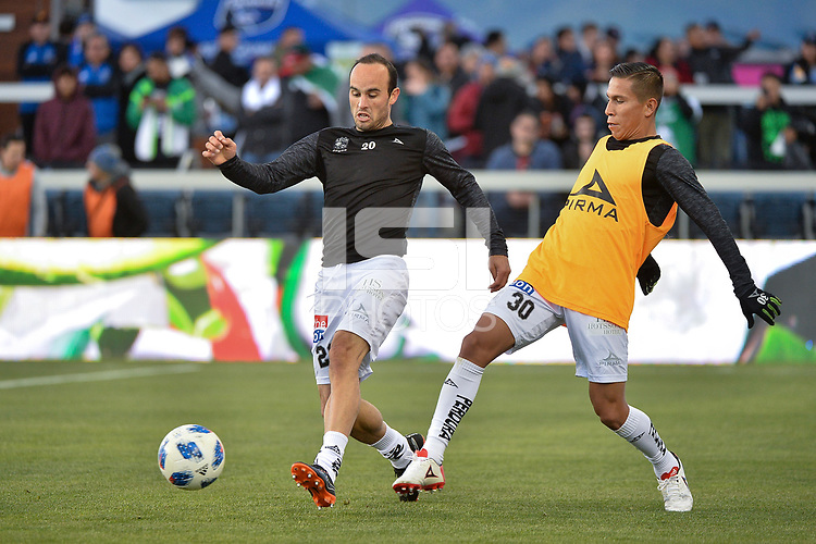 San Jose, CA - Saturday March 24, 2018: Landon Donovan, José Rodríguez during an international friendly between the San Jose Earthquakes and Club Leon FC at Avaya Stadium.