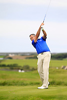Pat Murray (Limerick) on the 14th tee during Round 3 of The South of Ireland in Lahinch Golf Club on Monday 28th July 2014.<br /> Picture:  Thos Caffrey / www.golffile.ie