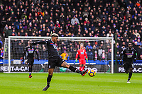Crystal Palace's defender Patrick Van Aanholt (3) stretches to cut out the through ball during the EPL - Premier League match between Huddersfield Town and Crystal Palace at the John Smith's Stadium, Huddersfield, England on 17 March 2018. Photo by Stephen Buckley / PRiME Media Images.