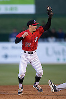 Kannapolis Intimidators second baseman Daniel Mendick (22) reaches for a throw during the game against the Hickory Crawdads at Kannapolis Intimidators Stadium on April 7, 2016 in Kannapolis, North Carolina.  The Crawdads defeated the Intimidators 5-1.  (Brian Westerholt/Four Seam Images)