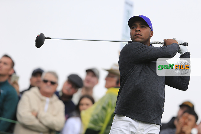 Harold Varner III (USA) on the 3rd tee during the final round of the Waste Management Phoenix Open, TPC Scottsdale, Scottsdale, Arisona, USA. 03/02/2019.<br /> Picture Fran Caffrey / Golffile.ie<br /> <br /> All photo usage must carry mandatory copyright credit (&copy; Golffile | Fran Caffrey)