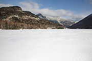 Franconia Notch State Park from Echo Lake during the winter months in the White Mountains, New Hampshire USA.