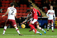 Tariqe Fosu of Charlton tries to shake off a challenge from Bradford City's Romain Vincelot during Charlton Athletic vs Bradford City, Sky Bet EFL League 1 Football at The Valley on 13th February 2018
