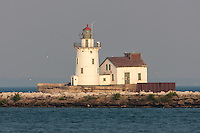 The Cleveland Harbor West Pierhead Light protects mariners near the mouth of the Cuyahoga River where it enters Cleveland Harbor.
