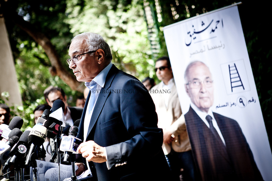 Ahmed Shafiq,former Egyptian prime minister and civil aviation minister, gave a press conference for his presidential campaing. .Although he was forced to resign as prime minister in the face of raging protests just one year ago because of his ties to Hosni Mubaraks regime, Ahmed Shafiq defiantly returns to the scene to run in Egypts first post-Mubarak presidential.Shafiq has relied on his military background and successes in the Civil Aviation Ministry to sell himself to the public in his presidential campaign.Shafiq makes it no secret that he was one of Mubaraks men. He defended the former president to the last minute before he stepped down on 11 February 2011 Shafiqs ties to the Mubarak regime are not only institutional. Many perceive him as sharing the same authoritarian and patriarchal values of other Mubarak-era figures.His campaign is described by some as schizophrenic.