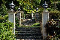 Stone steps leading up towards the Great Terrace are flanked by classical urns