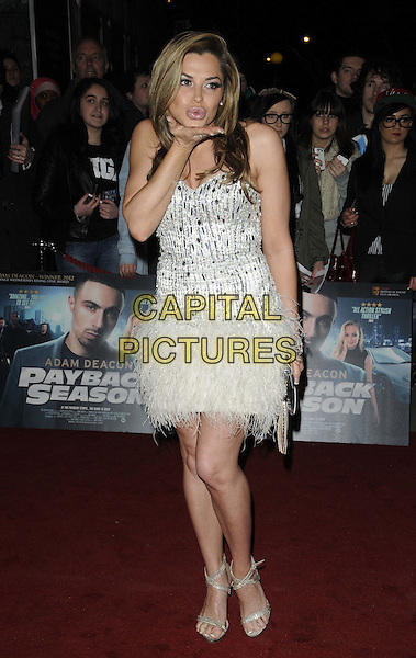 Louise Glover.The 'Payback Season' UK film premiere, Odeon Covent Garden cinema, Shaftesbury Avenue, London, England..March 6th, 2012.full length white silver dress beads beaded feathers hand blowing kiss.CAP/CAN.©Can Nguyen/Capital Pictures.