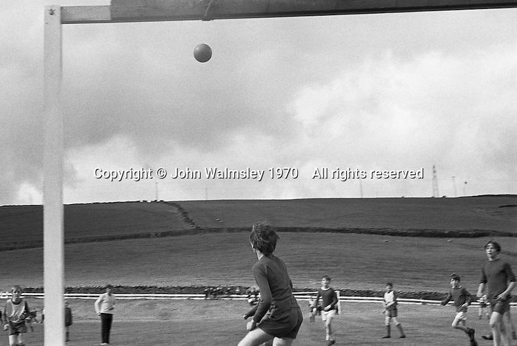 Football on the school field, Whitworth Comprehensive School, Whitworth, Lancashire.  1970.