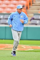 North Carolina Tar Heels head coach Mike Fox (30) before a game against the Clemson Tigers at Doug Kingsmore Stadium on March 9, 2019 in Clemson, South Carolina. The Tigers defeated the Tar Heels 3-2 in game one of a double header. (Tony Farlow/Four Seam Images)