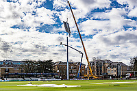 General view as new floodlights are installed at The Cloudfm County Ground, home of Essex County Cricket Club, on 17th March 2020 ahead of the forthcoming cricket season