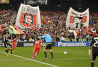 Barra Brava fans supporting DC United Jaime Moreno at  kick off.  Toronto FC defeated DC United 3-2 at RFK Stadium, October 23, 2010.