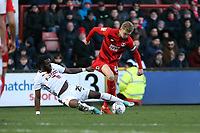 O's Josh Wright & Aramide Oteh during Leyton Orient vs Bradford City, Sky Bet EFL League 2 Football at The Breyer Group Stadium on 14th December 2019