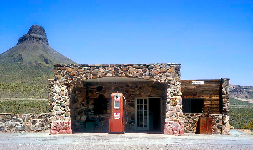 An old Mobile Oil gas station located on old Route 66 at the abandoned Cool Springs Camp outside of Oatman, Arizona.