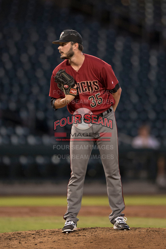 AZL Diamondbacks starting pitcher Lane Ratliff (35) looks to his catcher for the sign in a rehab start during an Arizona League game against the AZL Cubs 1 at Sloan Park on June 18, 2018 in Mesa, Arizona. AZL Diamondbacks defeated AZL Cubs 1 7-0. (Zachary Lucy/Four Seam Images)