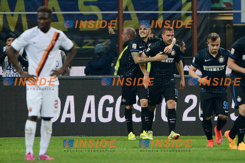 Esultanza Mauro Icardi, Lukas Podolski Inter<br /> Milano 25-04-2015 Stadio Giuseppe Meazza - Football Calcio Serie A Inter - Roma. Foto Giuseppe Celeste / Insidefoto
