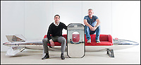 BNPS.co.uk (01202 558833)<br /> Pic: PhilYeomans/BNPS<br /> <br /> Bespoke furniture for the Jet Set.<br /> <br /> Brett and Shane Armstrong on a &pound;20,000 couch made from a USAF Corsair droptank.<br /> <br /> Two brother's have come up with ultimate in aircraft recycling - turning unwanted bits of redundant airliners into highly desirable - and highly expensive - bespoke items of furniture.<br /> <br /> Brett and Shane Armstrong from Kent scour the worlds aircraft graveyards looking for interesting items they can rescue from sad decay and with a lot of imagination and elbow grease convert into one-off gleaming items of furniture costing thousands of pounds.