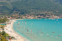 Windsurfers at the village Vasiliki in Lefkada, Greece