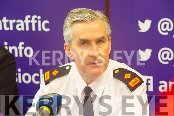 Superintendent Flor Murphy(Killarney) speaking at the GARDA Press conference in Cahersiveen Garda Station on Tuesday.