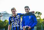 Uppsala 2014-06-26 Fotboll Superettan IK Sirius - IFK V&auml;rnamo :  <br /> Sirius Stefan Silva &auml;r glad tillsammans med Sirius Johan Arneng efter matchen <br /> (Foto: Kenta J&ouml;nsson) Nyckelord:  Superettan Sirius IKS Studenternas IFK V&auml;rnamo portr&auml;tt portrait glad gl&auml;dje lycka leende ler le