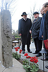 (Second from left) Mikhail Gorbachev, the last premier of the Soviet Union, stands beside his translator Pavel Palazchenko (second from right) at the peace garden at Eureka College, the alma matter of President Reagan, in Eureka, Illinois on March 27, 2009.  Gorbachev is to receive an honorary doctorate from the college, calling Reagan a partner whom he trusted.