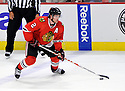 DUNCAN KEITH,  of the Chicago Blackhawks in action  during the Blackhawks game against the Calgary Flames at the United Center in Chicago, IL.  The Chicago Blackhawks beat the Calgary Flames 4-2 in Chicago, Illinois on December 5, 2011....
