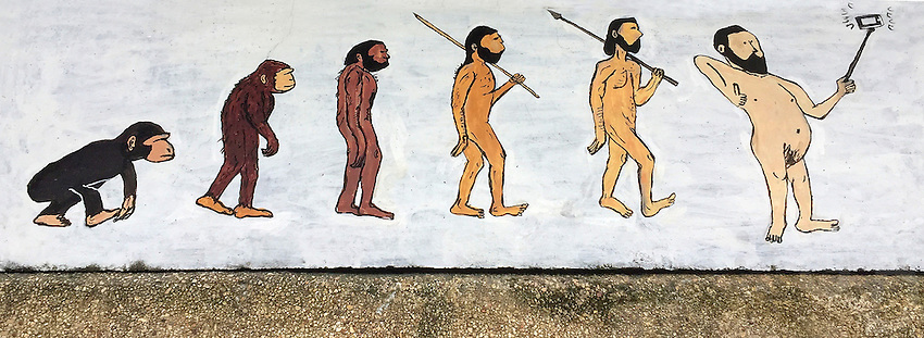 """""""Selfie and the evolution of Man."""" Wall-art in Phuket Thailand"""