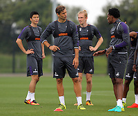 Pictured L-R: Ki Sung Yueng, Fernando Llorente, Oliver McBurnie and Leroy Fer Thursday 18 August 2016<br /> Re: Swansea City FC training at Fairwood, Wales, UK