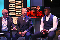 New Frank Warren signing David Adeleye (R) during a Weigh In at the BT Studios, Queen Elizabeth Olympic Park on 12th July 2019