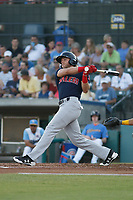 Salem Red Sox outfielder Trenton Kemp (10) at bat during a game against the Myrtle Beach Pelicans at Ticketreturn.com Field at Pelicans Ballpark on June 8, 2018 in Myrtle Beach, South Carolina. Myrtle Beach defeated Salem 5-4. (Robert Gurganus/Four Seam Images)