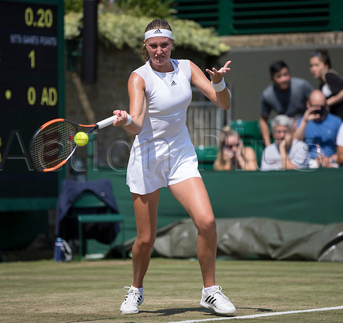 July 6th 2017, All England Lawn Tennis and Croquet Club, London, England; The Wimbledon Tennis Championships, Day 4; Kristina Mladenovic (FRA) hits a forehand return to Alison Riske (USA)