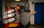 WATERBURY, CT. 22 April 2018-042218BS19 - From left, Jeray Cabbagestalk of Waterbury and Arthur Herold of Southbury pose for a photo during the Brass City Comic-Con at Naugatuck Valley Community College on Sunday afternoon. Bill Shettle Republican-American