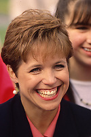 Washington DC., USA, April 28, 1992<br /> Katie Couric smiles as she talks with fans at event in Washington DC. Credit: Mark Reinstein/MediaPunch