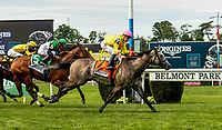ELMONT, NY - JUNE 09: A Raving Beauty  #7, ridden by Irad Ortiz, Jr., wins the Longines Just a Game Stakes on Belmont Stakes Day at Belmont Park on June 9, 2018 in Elmont, New York. (Photo by Carson Dennis/Eclipse Sportswire/Getty Images)