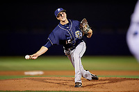San Antonio Missions relief pitcher Eric Yardley (12) delivers a pitch during a game against the Tulsa Drillers on June 1, 2017 at ONEOK Field in Tulsa, Oklahoma.  Tulsa defeated San Antonio 5-4 in eleven innings.  (Mike Janes/Four Seam Images)