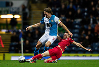 Blackburn Rovers' Sam Gallagher competing with Nottingham Forest's Jack Robinson (right) <br /> <br /> Photographer Andrew Kearns/CameraSport<br /> <br /> The EFL Sky Bet Championship - Blackburn Rovers v Nottingham Forest - Tuesday 1st October 2019  - Ewood Park - Blackburn<br /> <br /> World Copyright © 2019 CameraSport. All rights reserved. 43 Linden Ave. Countesthorpe. Leicester. England. LE8 5PG - Tel: +44 (0) 116 277 4147 - admin@camerasport.com - www.camerasport.com