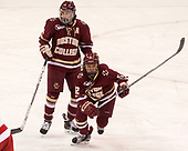 Megan Keller (BC - 4), Kenzie Kent (BC - 12) - The Boston College Eagles defeated the Boston University Terriers 3-2 in the first round of the Beanpot on Monday, January 31, 2017, at Matthews Arena in Boston, Massachusetts.