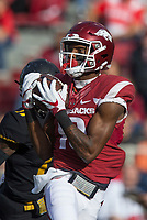 Hawgs Illustrated/BEN GOFF <br /> Jordan Jones, Arkansas wide receiver, catches a pass for a 57 yard touchdown in the first quarter against Missouri Friday, Nov. 24, 2017, at Reynolds Razorback Stadium in Fayetteville.