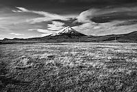 Black and white photo of Cotopaxi Volcano, Cotopaxi National Park, Cotopaxi Province, Ecuador